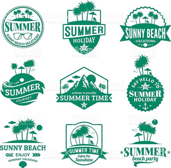 Set of vector summer emblems and design elements royalty-free stock vector art