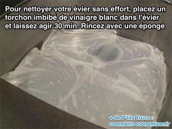 Comment nettoyer un évier facilement sans effort avec du vinaigre blanc