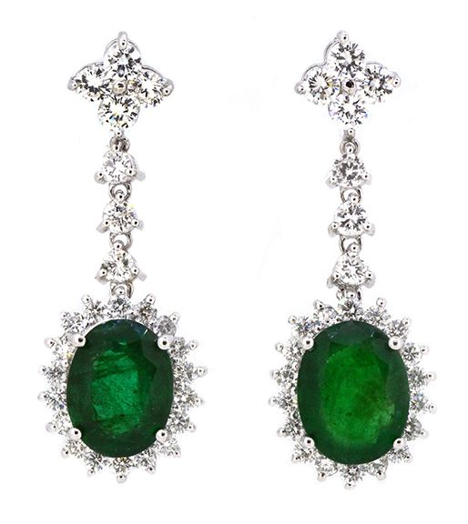 Earrings (1) Oval Shape Emerald 3.65ct (GIA Gemological Report: 1172480036) (1)…