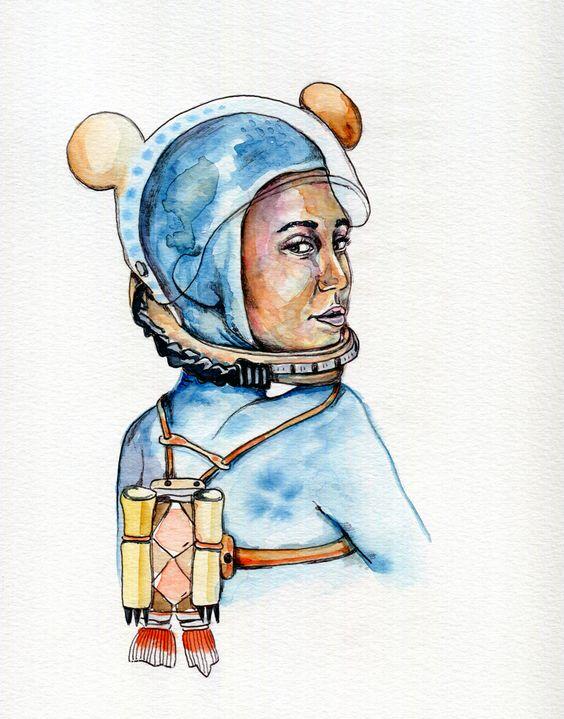 Cyrus Space #mileycyrus #watercolor #portrait #popculture #illustration #chadmweaver