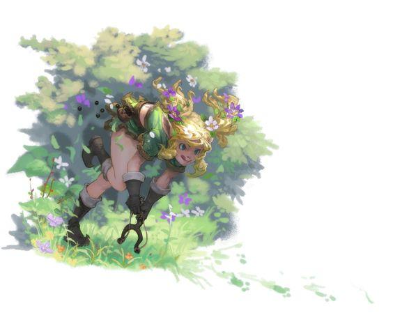 Elf slinger girl Picture  (2d, illustration, elf, girl, woman, fantasy)