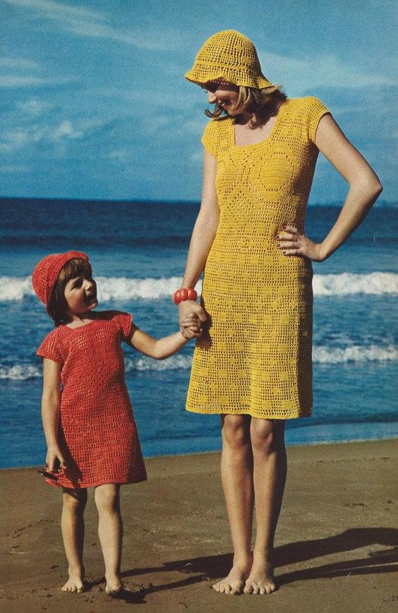 DIY Filet Crochet Lace Dresses and Matching Hats PDF Vintage Crochet Patterns