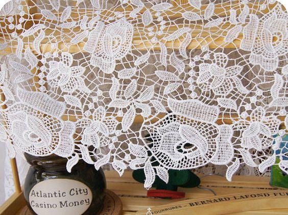lace fabric  wedding dress fabric  3D crochet by StarryFashion, $20.00