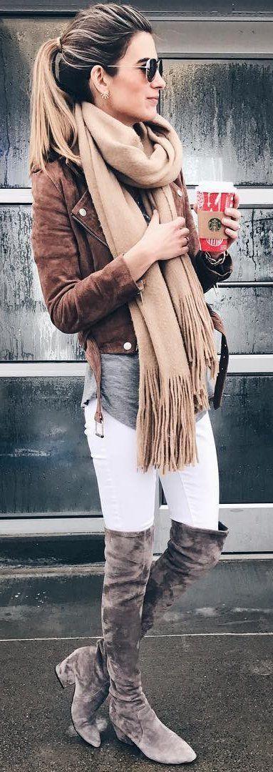#winter #fashion / Brown Jacket / Beige Fringe Scarf / White Slkinny Jeans / Grey OTK Boots