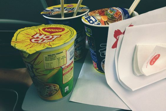 Korean cup noodles (mildly spicy) - to die for. MSG and food preservatives COME AT ME BRO. (Cheapest Airasia airplane food I could find) #korea #cupnoodle #food