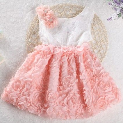 Peach and White Birthday Dress for Newborn Baby Girl. #birthdaydress #babygirldress #newborngirlsdress #kidsfashion  #kidswear #girlsdresses #partydress #casuldress #dressesforsale #kidsclothing
