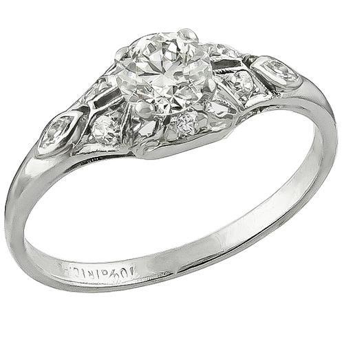Art Deco 0.40ct Old Mine Cut Diamond Platinum Engagement Ring