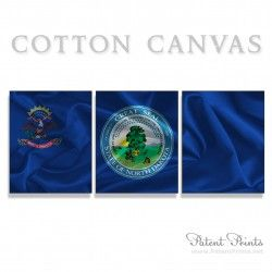 North Dakota State Seal and Flag Canvas Print