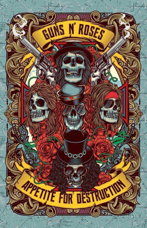 Pin Di Design A Commemorative Poster For Guns N Roses