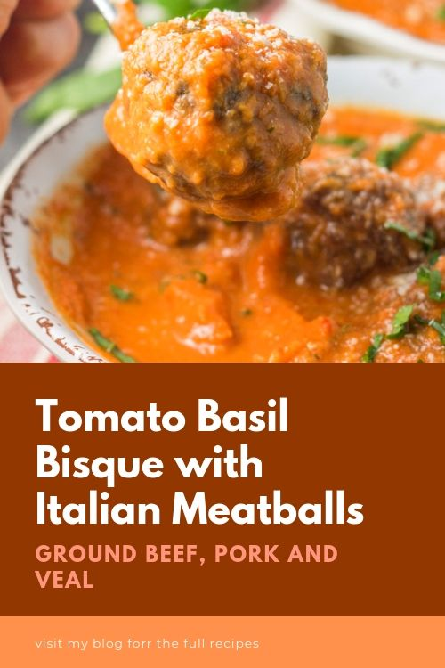 Tomato Basil Bisque With Italian Meatballs Paleo Whole30 Ground Pork Recipes Ground Veal Recipes Recipes With Ground Pork And Beef