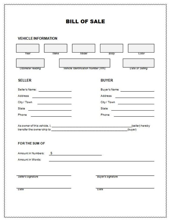 Bill Of Sale  Bill Of Sale For Car Template  Templates