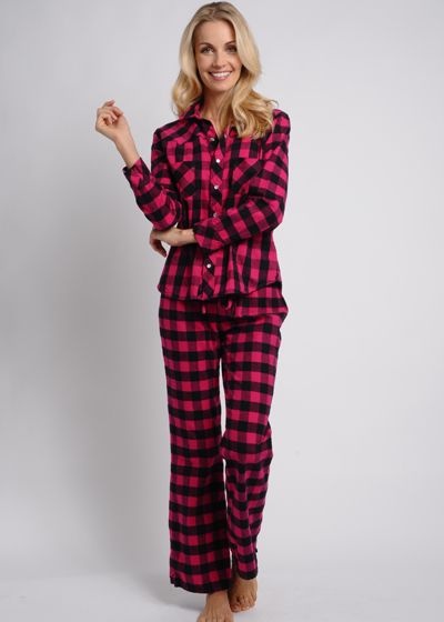 Western Style Cotton Flannel Pajamas, Raspberry Plaid, $136 These ...