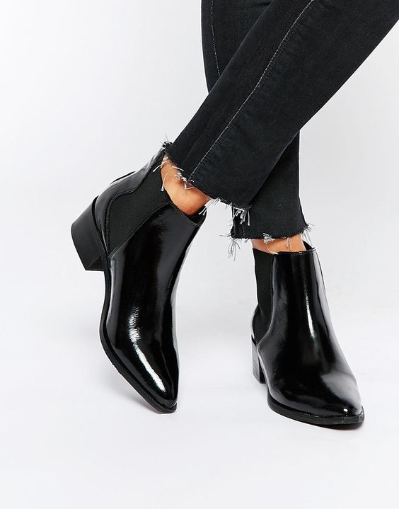 Selected | Selected Femme Elena Black Leather Point Ankle Boots at ...