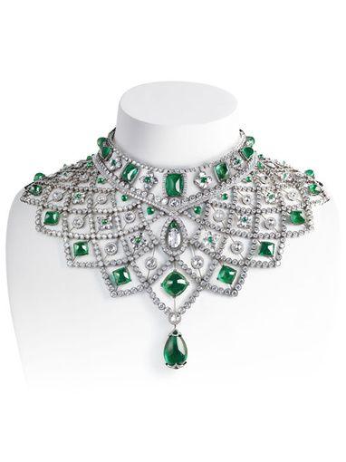 Romanov emerald and diamond collar by  Fabergé