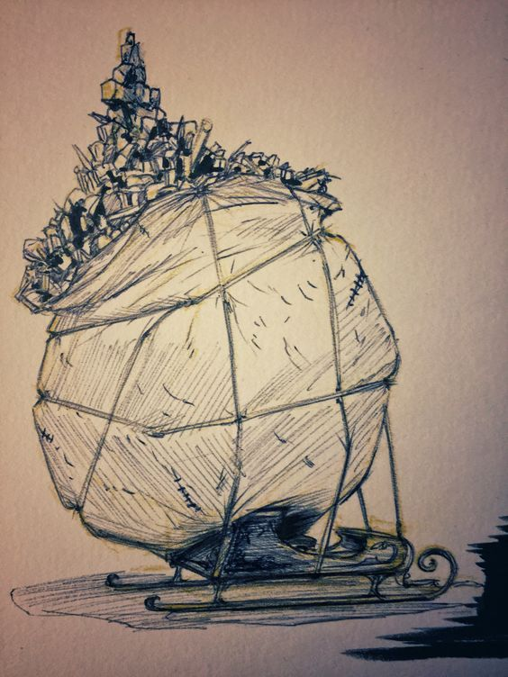 15 #Santa #claus #SantaClaus #overloaded #sleigh #drawing #StNicholas #christmas #HappyHolidays #sketch #cartoon