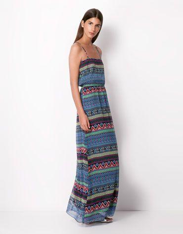 Bershka España - Vestido Bershka estampado étnico