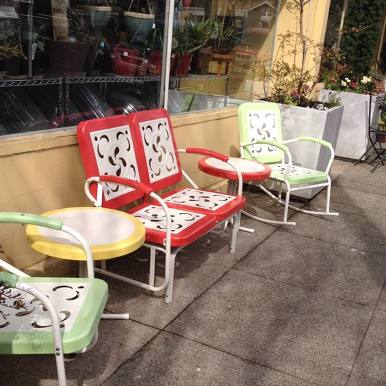 Vintage patio swing and rockers at garden fever Portland or garden
