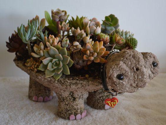 Turtle Pot Hypertufa Succulent Planter Tutorial PDF on Etsy, $4.80