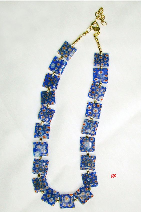 African Millefiori Glass Beads Necklace by Gijewelry on Etsy