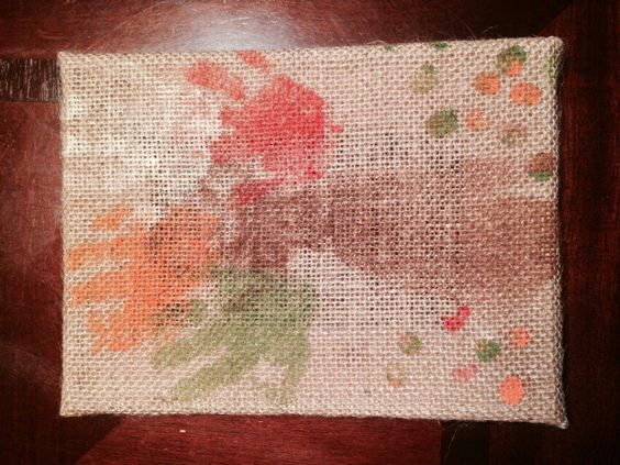 Babies arm, hand and thumbprint tree for fall on burlap canvas.