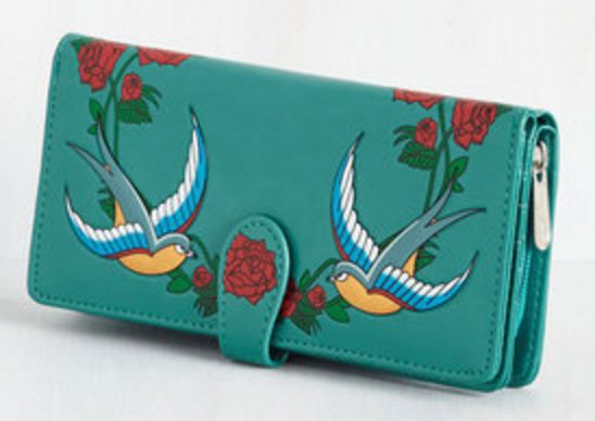 Teal Wallet with Bird Embroidery