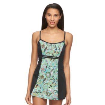 Women's+A+Shore+Fit+Hip+Minimizer+Print+Swimdress