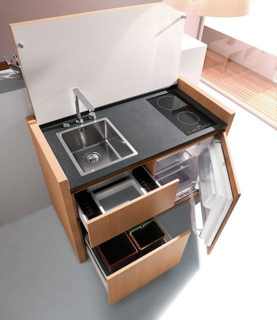 Mini Kitchen. A cool space saver. It would fit in the studio. Now all we need is running water.