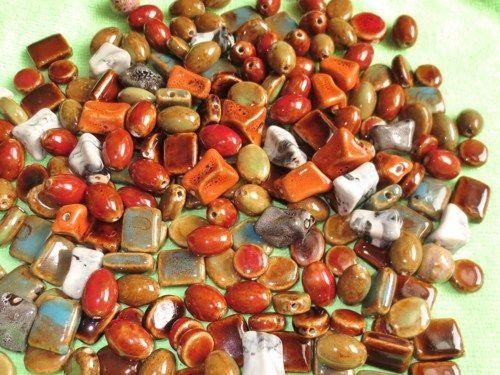 30 ounces Handmade Glazed Ceramic Loose Bead Mix -Free Shipping | evezbeadz - Craft Supplies on ArtFire