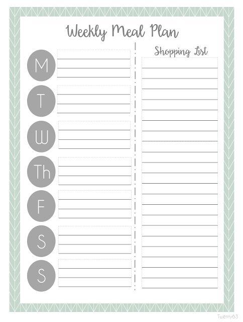 weekly menu planner template excel
