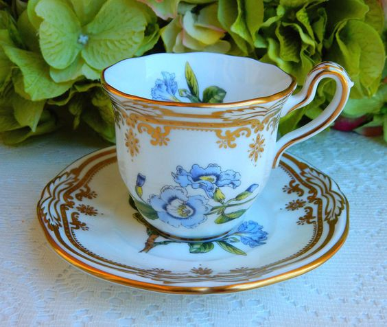 Beautiful Spode Porcelain Demitasse Cup & Saucer Stafford Flowers Gold…