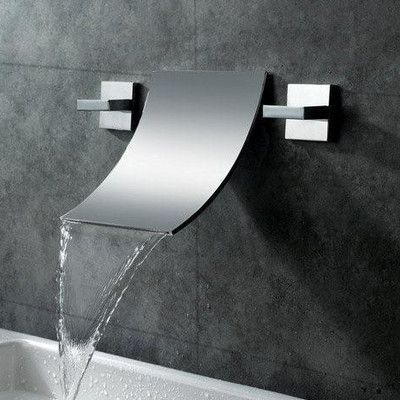 Sumerain Double Handle Wall Mount Waterfall Bathroom Sink Faucet