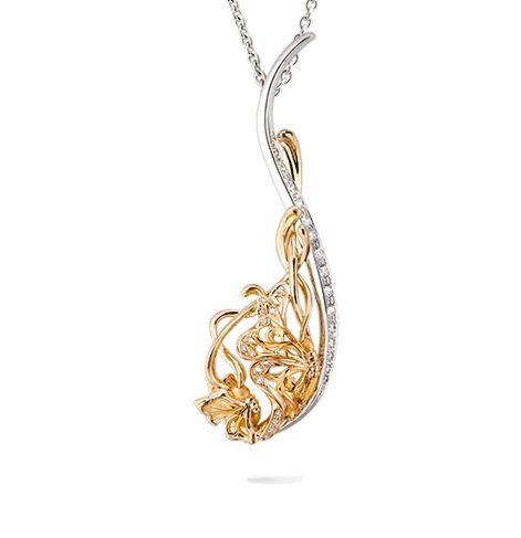 Collar en oro amarillo y blanco con diamantes