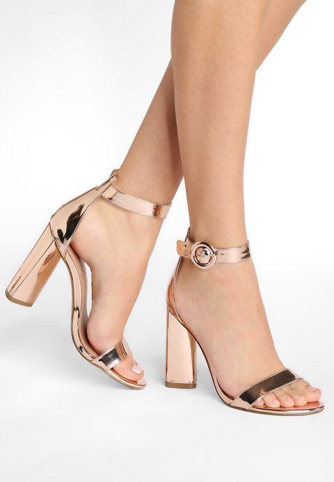sandale petit talon rose gold