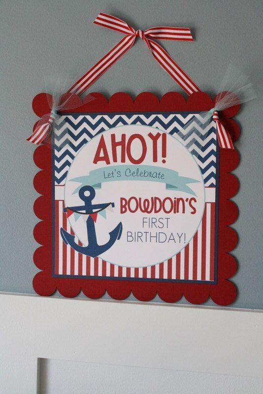 Nautical Birthday Door Sign, Nautical Birthday Door Decoration by thelovelyapple on Etsy https://www.etsy.com/listing/187958582/nautical-birthday-door-sign-nautical