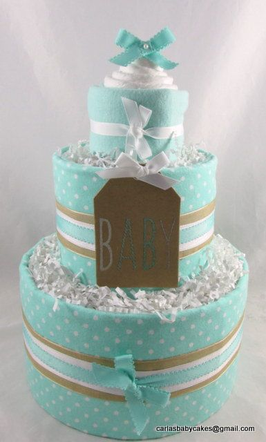 Neutral diaper cake baby diaper cake baby shower gift for Baby diaper cake decoration