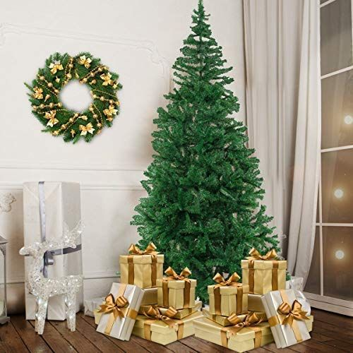 Bocca 8 Ft Christmas Artificial Pine Tree Full Branches With Strong Iron Stand Indoor And O Outdoor Christmas Tree Christmas Tree Prices Unique Christmas Trees