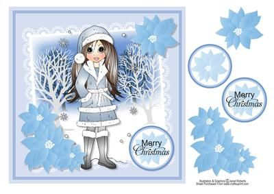 """Winter Emma Card Topper on Craftsuprint designed by Janet Roberts - This beautiful topper will fit on the front of a 8""""x 8"""" card blank but it can be made smaller in any graphic program.Easy decoupage and quick to make. - Now available for download!"""