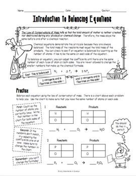 Printables Chemistry Worksheets High School introduction to balancing chemical equations worksheet back this was designed for middle and high school students just