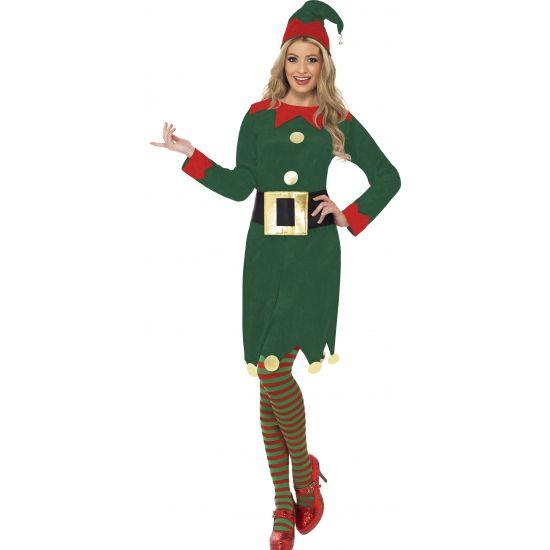 Elfjes kostuum groen voor dames. Een leuke groene kerstelf jurk met hoedje en…