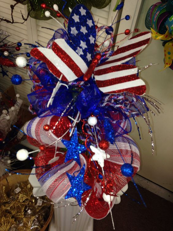 Fourth Of July Mailbox Swag Silks And Crafts Pinterest Swag Decoration And Outdoor