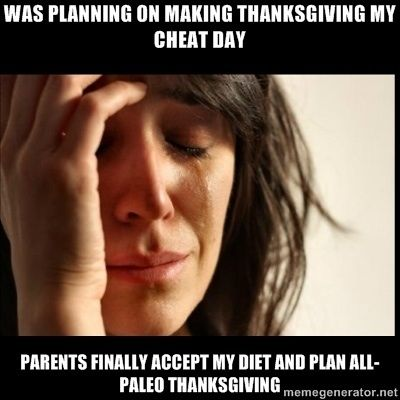 A paleo thanksgiving...? Would honestly probably be delicious! Sweet potatoes, green beans, turkey, cranberries, squash, salad...