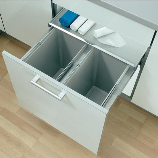 Vauth-Sagel Eco-Liner Easy Close Waste Basket Pull-Out with Free Shipping | KitchenSource.com