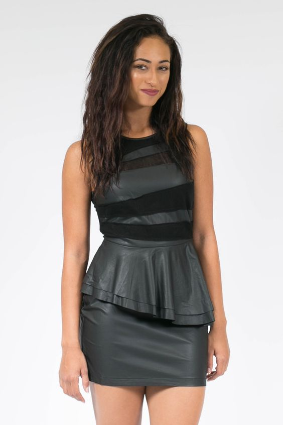 Pleather Peplum Black Dress