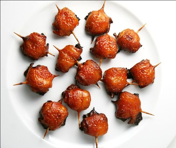 bacon wrapped water chestnuts---made with chicken instead= amazing on the grill!