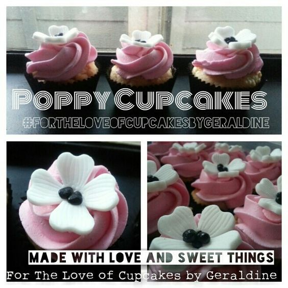 Poppy Cupcakes  #fortheloveofcupcakesbygeraldine https://m.facebook.com/profile.php?id=180343555337010