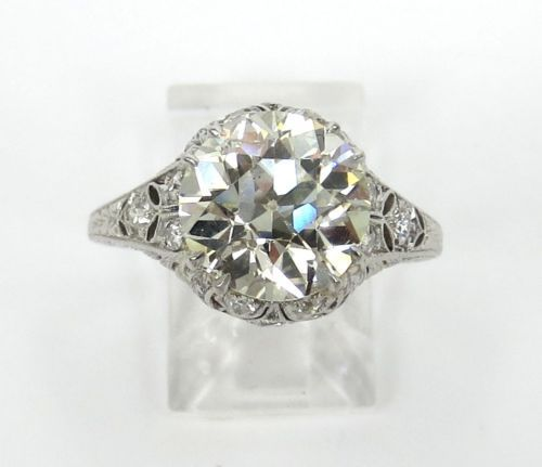 Art Deco 3.54ct Old Mine Cut Diamond Filigree Platinum Ring – Size 6.5 - KL SI1