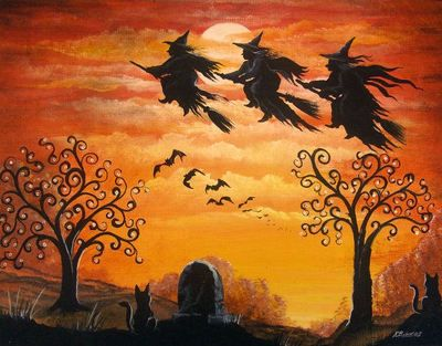 Folk Art Halloween Three Witches Flying Over Cemetary Rust Colors HA31