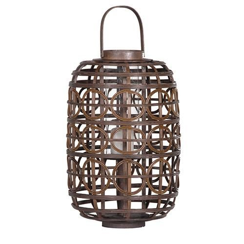 Large Rattan Circles Lantern - £35.95 - From The Richard Harvey Collection Ltd