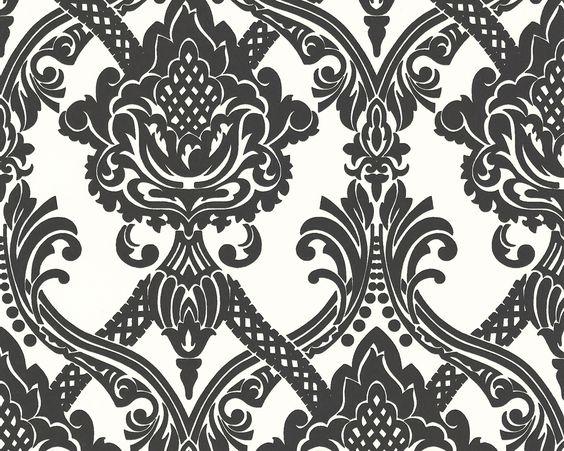 Schwarze Ornamente auf weißem Hintergrund, Tapete 554949 #black #and #white #schwarz #weiß #tapete #ascreation #living #interior #ornamente