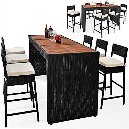 Bar De Jardin Ensemble Table Chaises 13 Pieces En Polyrotin Avec Coussins